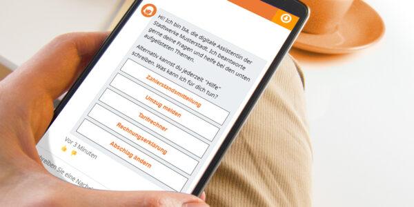 Chatbot Isa auf Smartphone